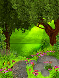 Dreamland. Illustration with a river in enchanted garden vector illustration