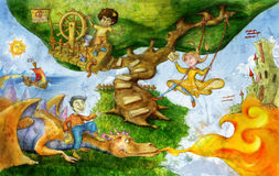 Dreamland. 2 boys and a girl playing in dreamland, one is on a dragon, one is on a pirate tree, and the princess is on a swing. A ship is coming from the Stock Photos