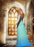 In Dreamland. A beautiful woman in front of a glass stained window royalty free illustration