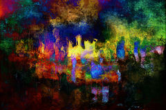 Dreamland. City abstraction digital painting, night city lights inspiration abstract painting, a megapolis abstract view royalty free illustration