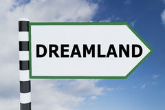 Dreamland - fantasy concept. 3D illustration of DREAMLAND script on road sign stock illustration