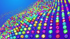 Socila media news balls in curly lines. Dreamlike 3d rendering of social media services in billiards balls placed in ocean looking depth. All balls are covered Stock Photography