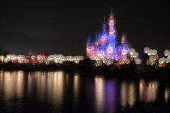 dreamlike disney castle in shanghai royalty free stock photography