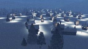 Dreamlike ingesneeuwde gemeente bij sneeuwvalnacht Royalty-vrije Stock Foto