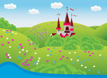 Dreamlike landscape. Fabulous landscape of his childhood with the castle,  illustration Royalty Free Stock Photo