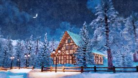 Alpine house at snowy winter night in watercolor. Dreamlike scene with cozy snowbound half-timbered rural house among snow covered fir trees high in alpine royalty free stock images