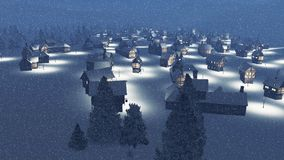 Dreamlike snowbound township at snowfall night Royalty Free Stock Photo