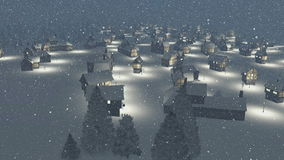 Dreamlike township at snowfall night. Aerial view. Dreamlike snow-covered township at heavy snowfall during nighttime. Camera moves from the bottom up stock illustration