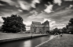 Atmospheric view of old Georgian Iron Mill, Coxes lock, Addlestone Stock Photos