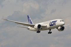 Dreamliner plane view Stock Images