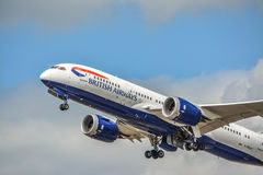 Dreamliner taking off with full thrust. A Boeing 787 by British Airways taking off from Heathrow Royalty Free Stock Image