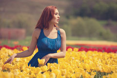 Dreammy girl in flower field Royalty Free Stock Photos