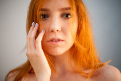 Dreammy gorgeous portrait of redhead woman in soft focus Stock Photo