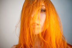 Dreammy portrait of attractive redhead woman in soft focus Stock Images