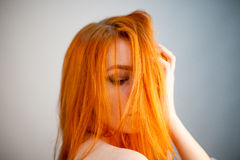 Dreammy portrait of fashion redhead woman in soft focus. In studio photo. Attractive and beautiful woman stock photos