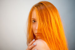 Dreammy portrait of gorgeous redhead woman in soft focus Stock Photos