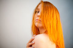 Dreammy portrait of gorgeous redhead woman in soft focus Royalty Free Stock Photo