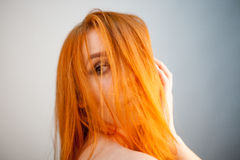 Dreammy portrait of redhead girl in soft focus Royalty Free Stock Image