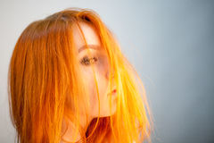 Dreammy portrait of redhead girl in soft focus Royalty Free Stock Photos