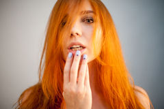 Dreammy portrait of redhead in soft focus Stock Image