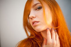 Dreammy portrait of redhead in soft focus Stock Photos