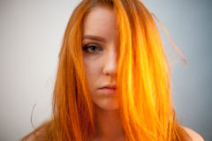 Dreammy portrait of redhead woman in soft focus Stock Image