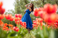 Dreammy romantic woman in outdoor photo Stock Images