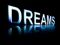 Dreams. Word with blue effects over black background Royalty Free Stock Images