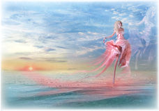 From dreams. Digital photomanipulation, the girl runs on a smooth surface of ocean against the leaving sun Stock Photo