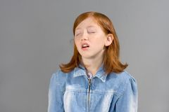 Dreams. Girl dreaming with closed eyes Royalty Free Stock Images