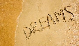 Dreams. On yellow sand and water stock image