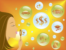 Dreams. Woman blowing bubbles representing dreams of her future Royalty Free Stock Photo