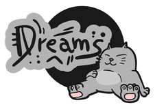 Dreams cat. Funny draw of sleep cat Royalty Free Stock Photography