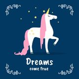 Dreams Come True Banner Template, Fairytale Magic Unicorn on Dark Blue Background, Design Element Can Be Used for. Invitation Card, Flyer, Poster, Label, Cover stock illustration