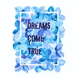 Dreams Come True - motivation poster. Vector watercolor background Stock Photography