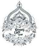 `Dreams come true` poster with peonies frame and mendi style deoration. Sketch style,  can be used for tattoo, beutiful vector illustation Royalty Free Stock Photo