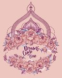 `Dreams come true` poster with peonies frame and mendi style deoration. Sketch style,  can be used for tattoo, beutiful vector illustation Royalty Free Stock Image