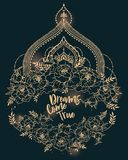 `Dreams come true` poster with peonies frame and mendi style deoration. Sketch style,  can be used for tattoo, beutiful vector illustation Royalty Free Stock Images