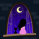 Dreams come true. See what you see. About nigts, dreams, cats and girls illustration Stock Images