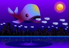 Dreams eater. Vector illustration for a giant fish eating people's dreams in a full moon night Royalty Free Stock Photography