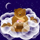Dreams. Fantasy illustration. Fantastic bear with cubs in the cl Royalty Free Stock Images