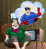 Dreams of the fat man. Funny illustration of  homebody Fat Man, who see himself as Superhero in own dreams, drawn in cartoon style Stock Image
