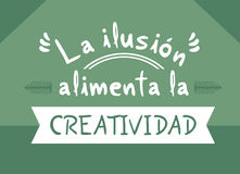 The dreams feeds creativity message in spanish language. Creative design of The dreams feeds creativity message in spanish language Stock Photo