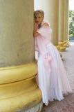 Dreams of future. Bride near columns of an opera theatre, summer, Siberia Stock Image