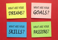 Dreams Goals Skills Passions. What Are Your Dreams Goals Skills Passions. Set of Motivational Labels stock photo