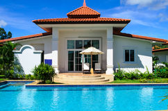 Dreams house with pool Stock Photos