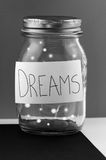 Dreams. A glass jar with your dreams Stock Images
