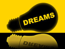 Dreams Lightbulb Indicates Hope Dreamer And Aim Stock Image