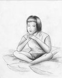 Dreams or meditation - sketch. Young girl sitting among the pillows and dreaming of meditating with her eyes closed Royalty Free Stock Photography