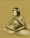 Dreams or meditation - sketch. Young girl sitting among the pillows and dreaming of meditating with her eyes closed Stock Photography